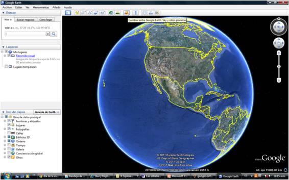 Cambiar de Google Earth a Sky y otros planetas