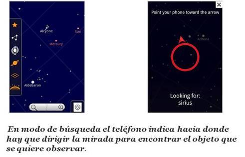 Google Sky Map utiliza el GPS