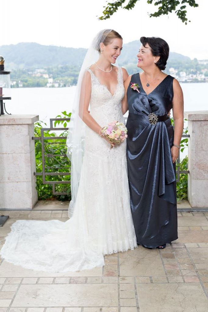 robe mère de mariée longue col en V