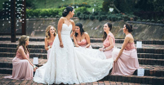 demoiselles d'honneur en robe rose longue